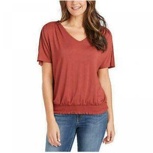 NWT Ruched Bottom T-Shirt Large Rustic Brown